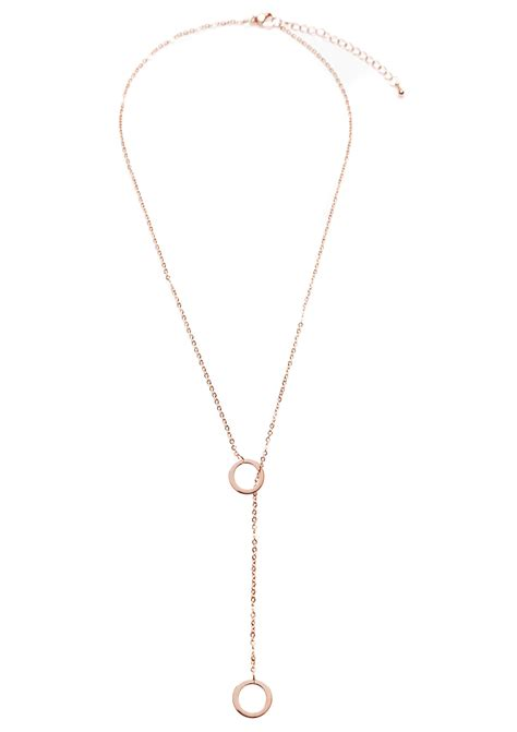 Y Kette Kreise in Rosegold - Happiness Boutique