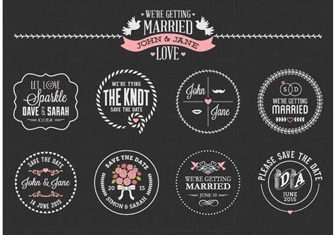 Free Chalk Save The Date Labels Vector - Download Free