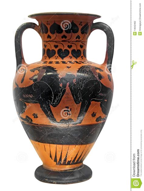 Ancient Greek Vase With Two Lions Stock Photo - Image