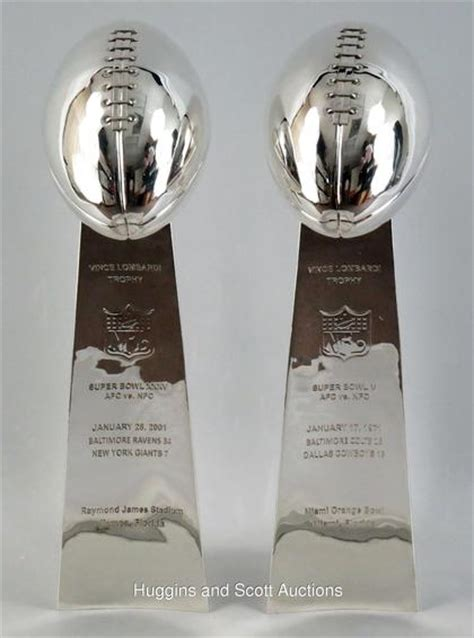 (2) Lombardi Trophy Silver Plated Replicas with Super Bowl