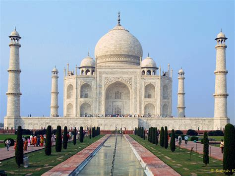The Taj Mahal Is An Ivory White Marble Mausoleum On The