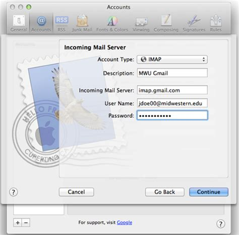 Apple Mail Configuration | Midwestern University