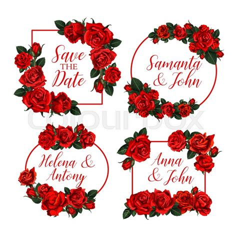 Save the Date floral frames of red