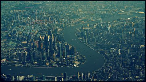 Shanghai from above I   seen from an Emirates A380 coming