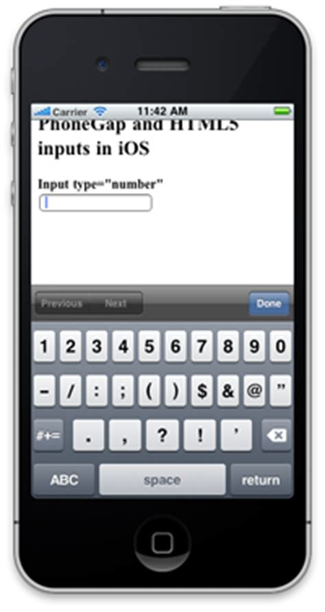 HTML5 inputs and PhoneGap – iPhone and Android – Share Our