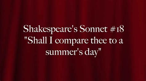 """Shakespeare's Sonnet #18: """"Shall I compare thee to a"""