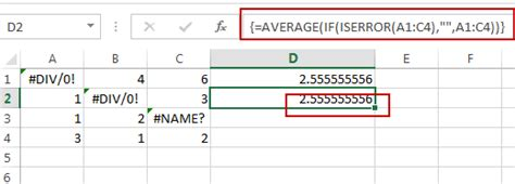 How to Ignore Error Values When Calculating the Average in